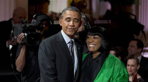 "President Barack Obama greets Patti LaBelle after she performed ""Over the Rainbow"" during the In Performance at the White House: Women of Soul (AP)"