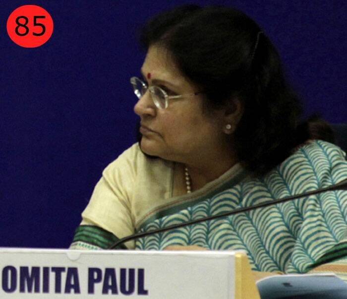 <b>Omita Paul</b> (64),  Secretary to the President of India<br /> <b>WHY</b>: As secretary to the President and his long-time aide, in a year when all polls point to a hung House, Paul is likely to play an  important role as the eyes and ears of President Pranab Mukherjee.