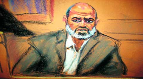Bin Laden's son-in-law, Suleiman Abu Ghaith, in a courtroom drawing. (Reuters)