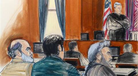 In this courtroom sketch, Sulaiman Abu Ghaith, left, listens as U.S. District Judge Lewis A. Kaplan stands to speak during jury selection at the start of Abu Ghaith's trial in New York. (AP)