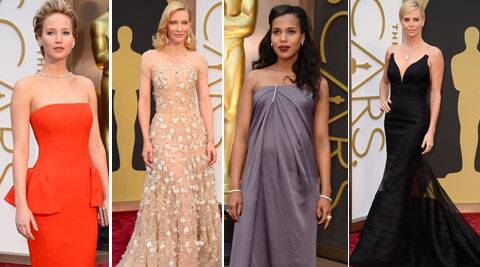 Jennifer Lawerence, Cate Blanchett, Charlize Theron on the Oscars red carpet. (AP)