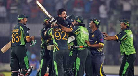 Pakistan celebrate after winning the Asia Cup one-day international cricket tournament against India in Dhaka, Bangladesh. (AP Photo)