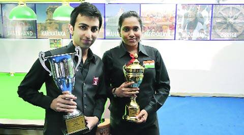 Pankaj Advani and Vidya Pillai with their trophies (Express Photo)