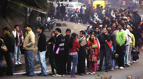 Parents queue up for nursery admission forms at a city school. (Express Archive)