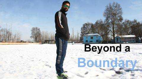 J&K captain Parvez Rasool at Bijbehara cricket ground (IE Photo Shuaib Masoodi)