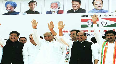 NCP chief Sharad Pawar along with CM Prithviraj Chavan and other leaders at the joint rally of Congress and NCP on Wednesday. (Sandeep Daundkar)