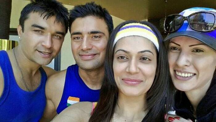 Actress Payal Rohatgi posted a selfie just after getting out of gym with her fiance and Bigg Boss 7 finalist Sangram and Ajaz Khan.