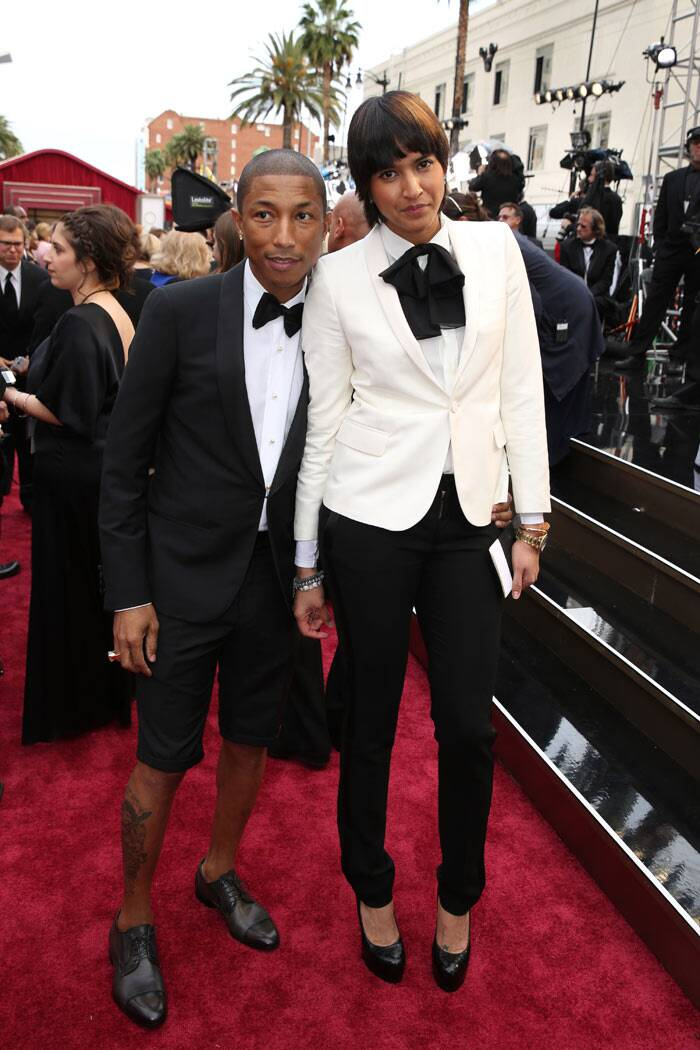 Pharrell Williams: The 'Happy' singer  sported a pair of shorts on the red carpet which is a straight no no. Though he looked cute, there is simply no excuse for men to bare their legs at the Oscars.