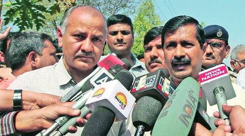 Arvind Kejriwal and Manish Sisodia in Ahmedabad on Friday.Javed Raja