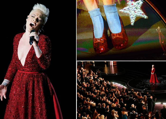 "Singer Pink was sensational in ruby red as she paid tribute to the 75th anniversary of ""The Wizard of Oz."""