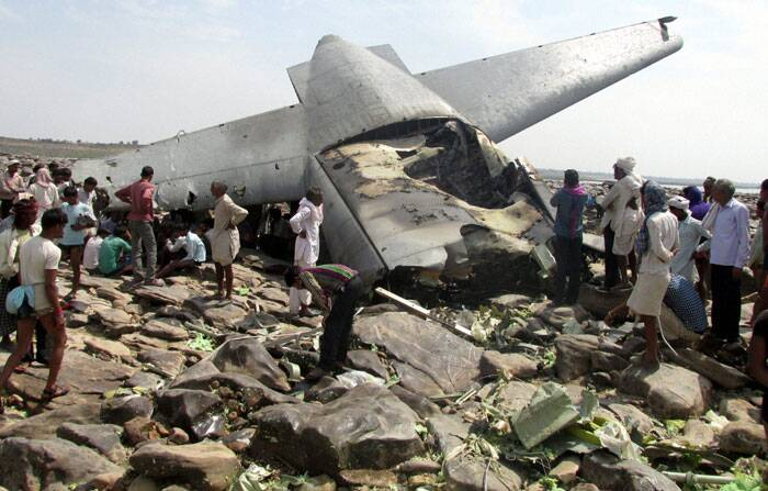 A recently acquired C-130J military transport plane, one of the most modern US-made aircraft, Friday crashed near Gwalior, killing all the five crew members, including four officers. (PTI)