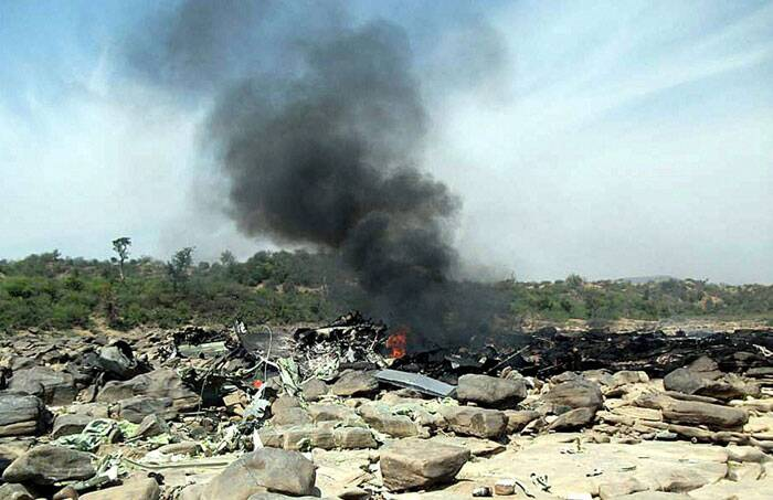 Senior IAF officials said two C-130J Super Hercules Special Operations transport aircraft had taken off from Agra together while taking part in a tactical exercise, which involved flying at very low heights, at 10 AM but one of them crashed at around 11 AM. (PTI)