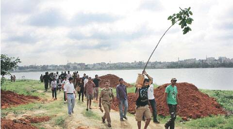 sustained effort Community tree planting by volunteers of Saytrees, a Bangalore-based NGO.