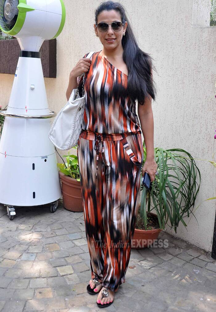 Pooja Bedi picked a printed one-shoulder jumpsuit for the afternoon. (Photo: Varinder Chawla)