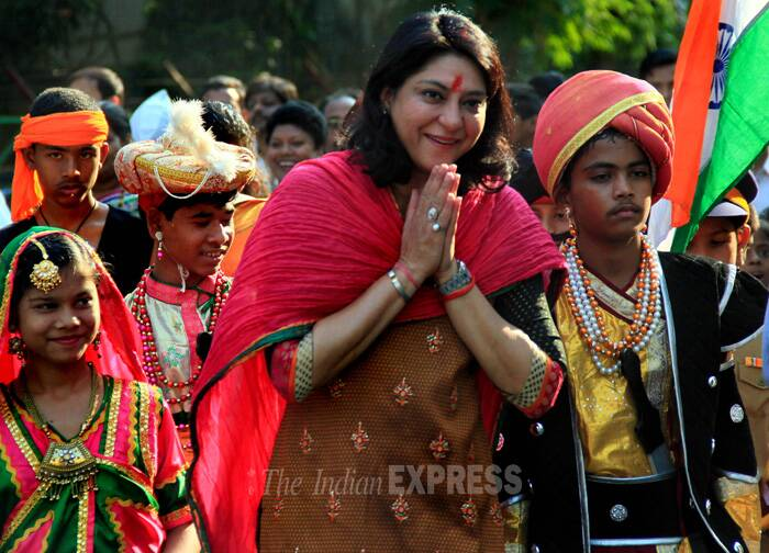 Priya Dutt, who has been representing Mumbai North central constituency since 2009, at the Gudi Padwa procession. (IE Photo: Amit Chakravarty)