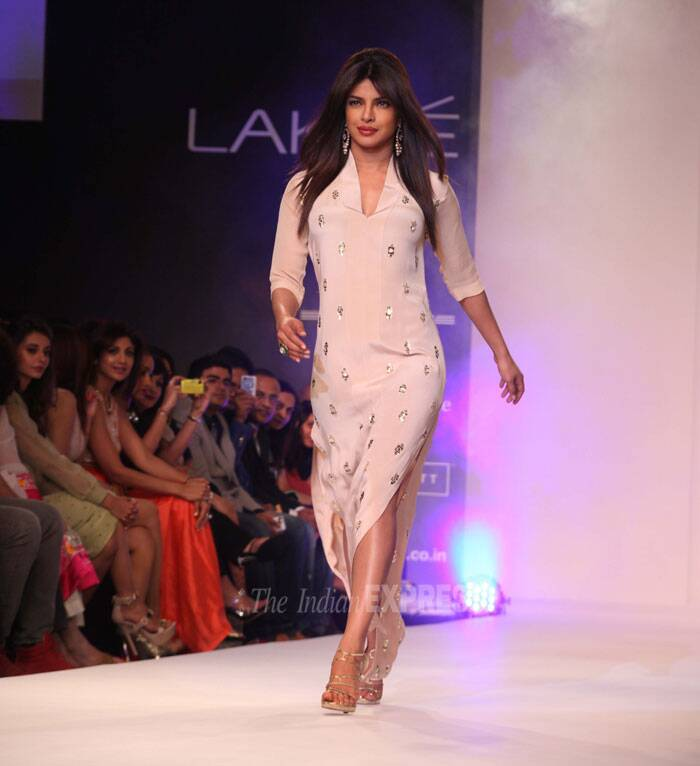 Neeta Lulla dressed Priyanka Chopra in a light pink outfit with shimmers. (IE Photo: Dilip Kagda)