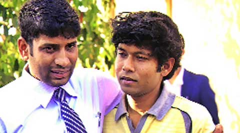 Deep (right) with his cousin Arnab after his release.