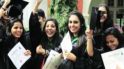 Students of Khalsa College for Women at their annual convocation ceremony  on Wednesday. (IE photo: Gurmeet Singh)