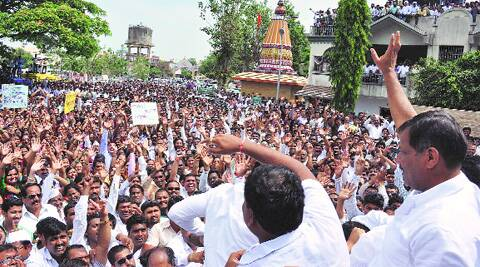Supporters outside Laxman Jagtap's house in Pimple Gurav on Sunday.Rajesh Stephen