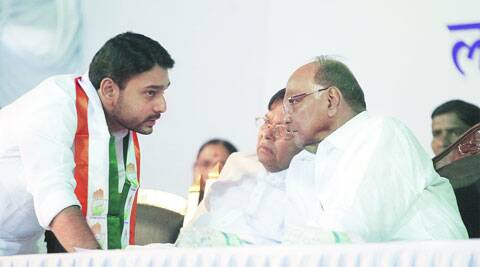 Congress candidate Vishwajeet Kadam and state forest minister Patangrao Kadam with Union Agriculture Minister and NCP president Sharad Pawar on Saturday. PHOTOS: Pavan Khengre