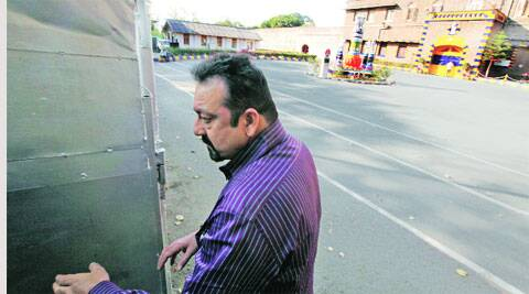 Dutt outside the jail on Saturday Sandeep daundkar