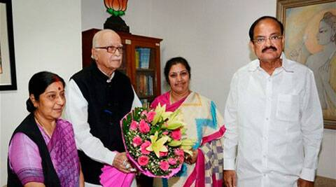 Former UPA minister Daggubati Purandeswari meets senior BJP Leader L K Advani in New Delhi on Friday. BJP leaders Sushma Swaraj and Venkaiah Naidu are also seen. PTI Photo