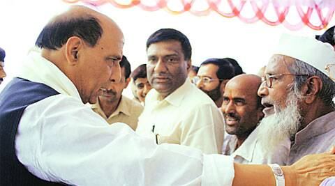 BJP national president Rajnath Singh with supporters at his official residence in Lucknow Thursday.Vishal Srivastav