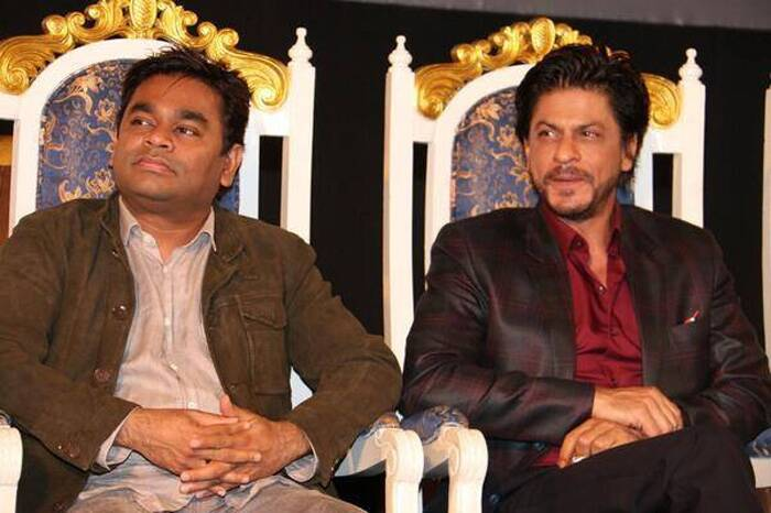 Oscar winning composer A R Rahman, who has scored the music for Rajinikanth's 'Kochadaiiyaan', India's first film on motion capture technology, and said he foresees a separate industry in this field. <br />Seen here with ShaH Rukh Khan. (Photo: Facebook)