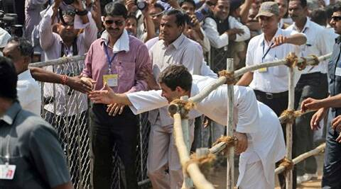 Congress vice-president Rahul Gandhi at a rally in Balasinor, Gujarat, Tuesday. (AP)