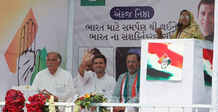 "In a hard-hitting attack on Narendra Modi on his home turf, Rahul Gandhi today accused his government of ""stealing"" farmers' land and charged the BJP with appropriating credit for schemes launched by the Congress-led UPA. (IE Photo: Bhupendra Rana)"
