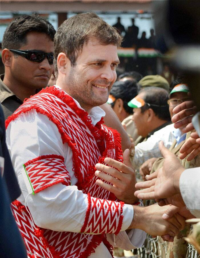 Congress Vice President Rahul Gandhi meets supporters after an election campaign rally at Kohima, Nagaland on Thursday. (PTI)
