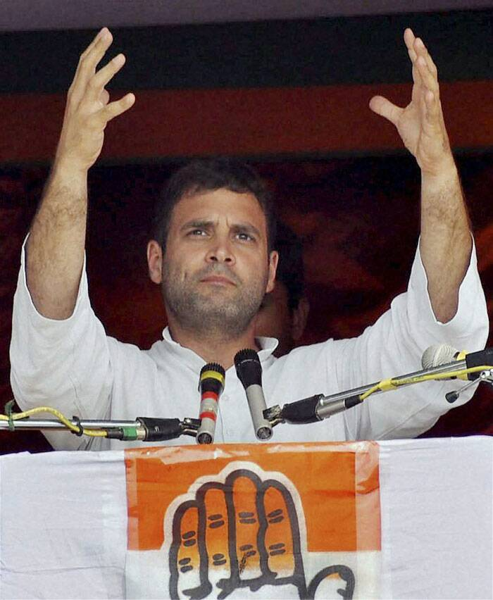 "Terming as ""marketing exercise"" media reports of a likely BJP victory in the polls, Gandhi said this balloon floated by BJP will burst when votes are counted as it did in 2004 and 2009 when Congress had been written off by pollsters. <br /> Rahul Gandhi addresses an election rally at Biswanath Chariali in Sonitpur district on Thursday. (PTI)"