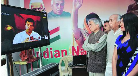 Chandigarh MP Pawan Kumar Bansal and others during Google Hangout with Rahul Gandhi at Congress Bhavan in Chandigarh on Saturday. Kshitij Mohan