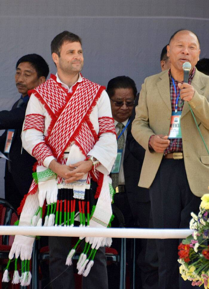 Congress Vice President Rahul Gandhi, in a traditional attire, at an election campaign rally at Kohima, Nagaland on Thursday. (PTI)