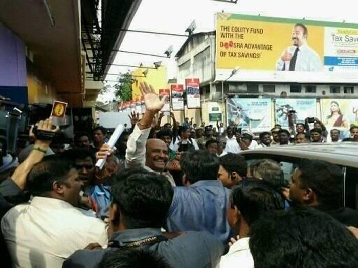 Man of the masses! Rajinikanth waves to his fans as he arrives for the event. (Photo: Twitter)