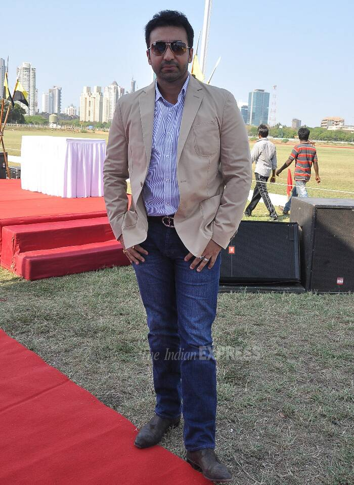 Raj Kundra wore a beige blazer with a striped shirt and denims. (Photo: Varinder Chawla)