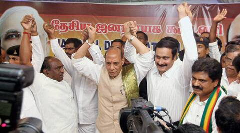 BJP president Rajnath Singh with alliance partners in Chennai. (PTI)
