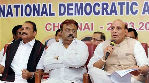 BJP president Rajnath Singh, DMDK President Vijayakanth and MDMK chief Vaiko at a meeting to make formal announcement on seat sharing for Lok Sabha polls, in Chennai. (PTI)