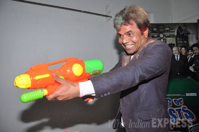 Rajpal Yadav has some fun with a massive water pistol! (Photo: Varinder Chawla)