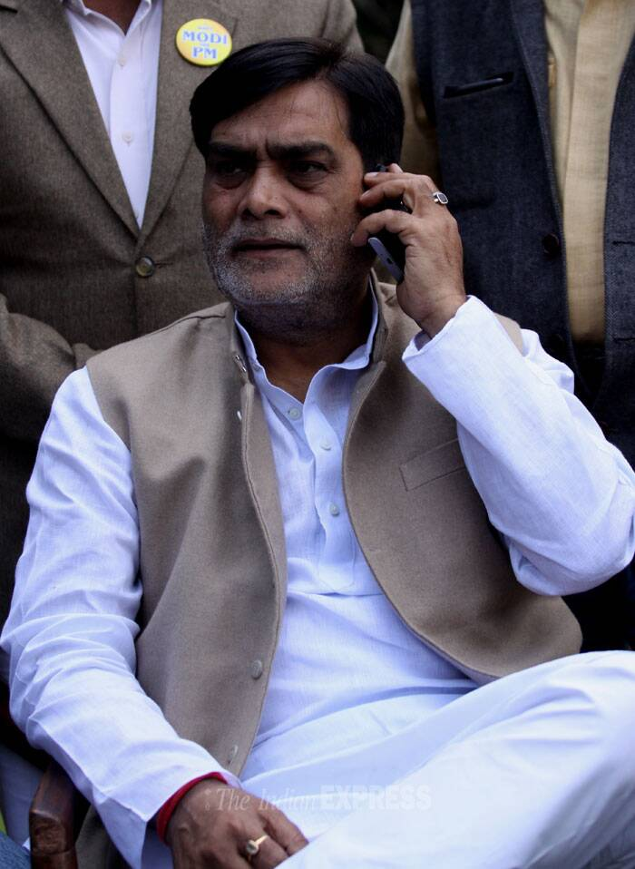 Rebel RJD leader Ram Kripal Yadav, a former close aide of RJD chief Lalu Prasad Yadav, today met top BJP leaders here and is set to join the party tomorrow. (IE Photo: Prem Nath Pandey)