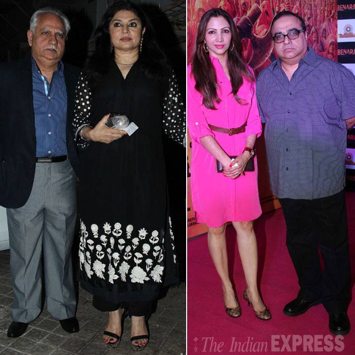 Filmmaker Ramesh Sippy arrived with wife Kiran Juneja, while Rajkumar Santoshi was accompanied by his wife Manila. (Photo: Varinder Chawla)