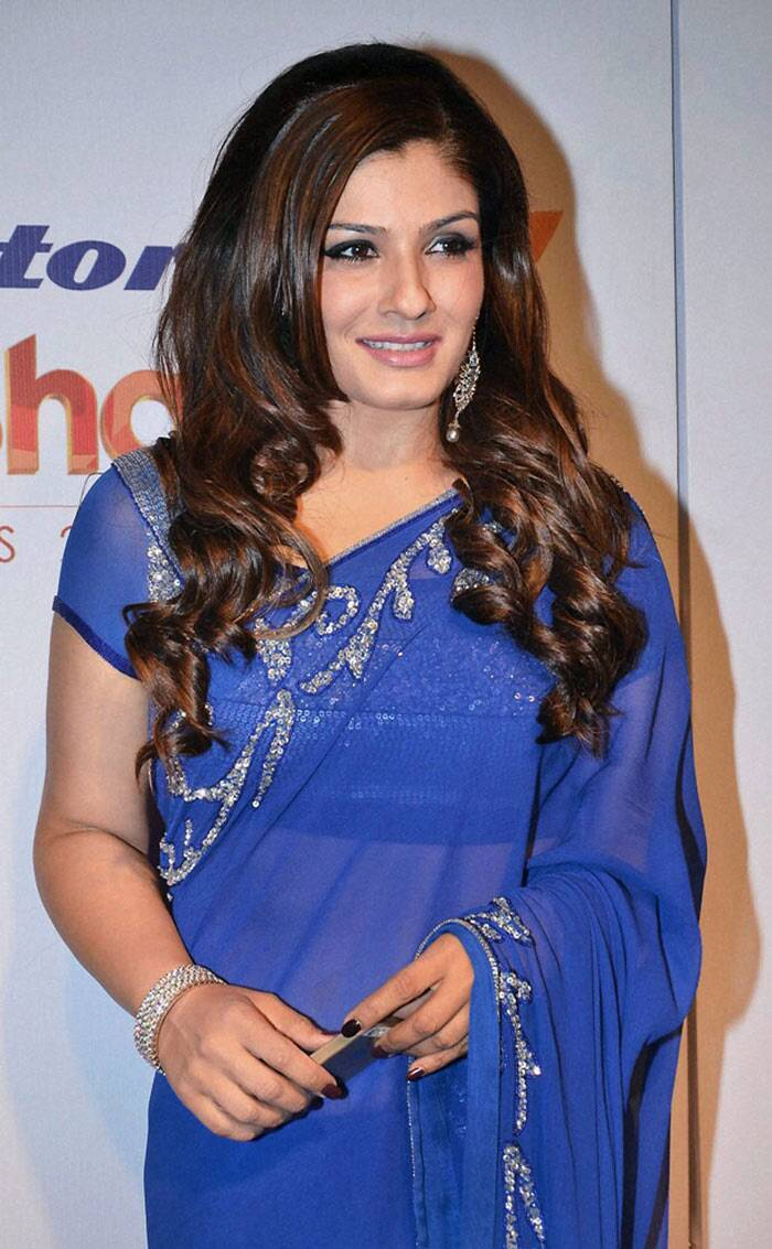 Raveena Tandon was ravishing in a blue sari. (PTI)