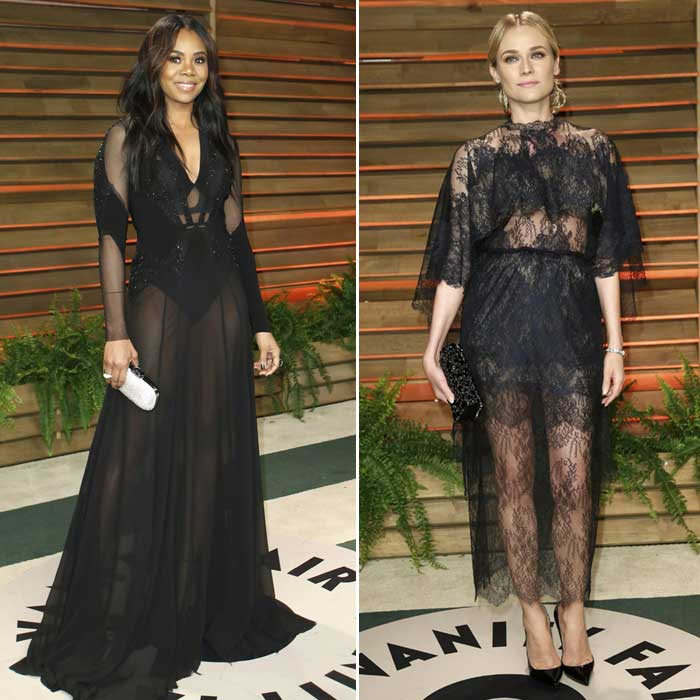 Sheer disaster – Diane Kruger and Regina Hall fail to impress in the bkack sheer dress. (Reuters)