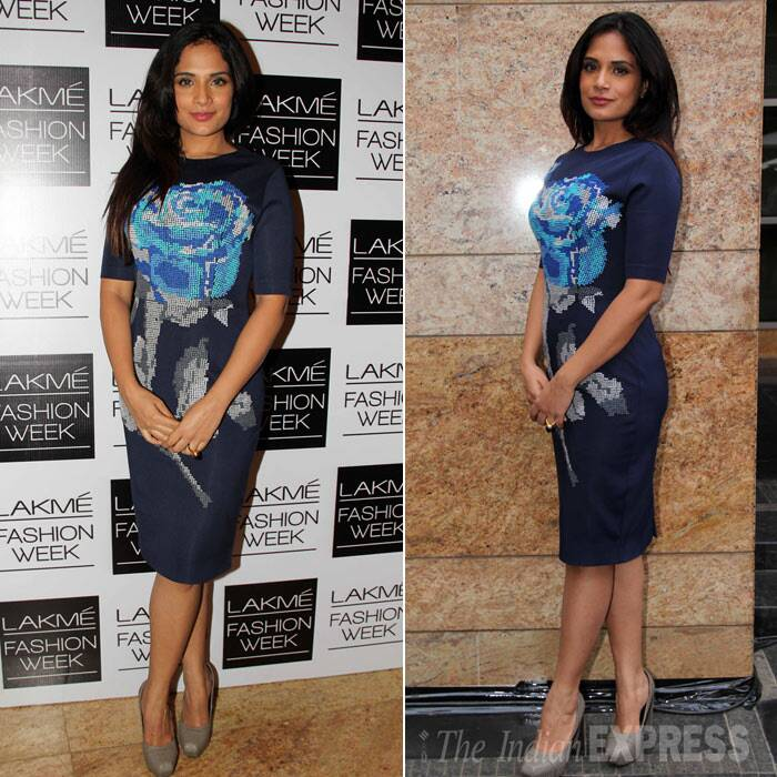 Richa Chadda, who had also walked the ramp on Day 2 of the LFW, was pretty in a blue dress with grey pumps. (Photo: Varinder Chawla)