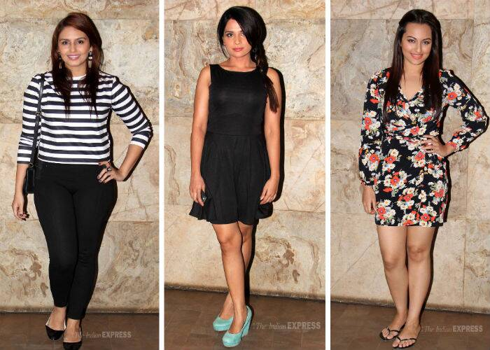 Sonakshi Sinha, Dia Mirza, Huma Qureshi, Richa Chadda and others attended the special screening  of Kangana Ranaut's upcoming release 'Queen'.