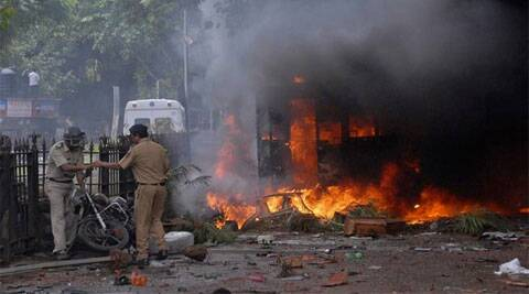 A scene of violence in Azad Maidan in 2012. (Reuters)