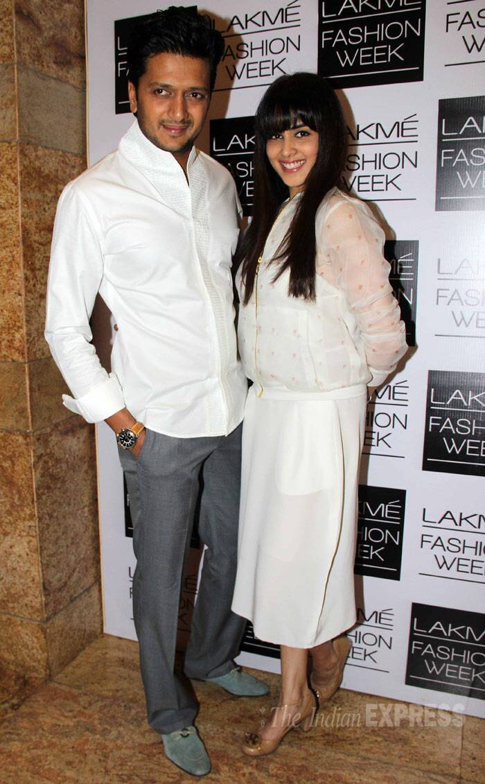 Genelia D'Souza also wore Nishka Lulla as she attended the designer's show with husband Riteish Deshmukh. (Photo: Varinder Chawla)
