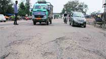 Potholes recarpeted with mud ahead of Union minister's visit