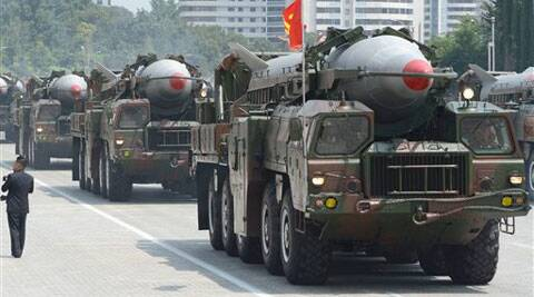 Rodong missiles during a military parade at Kim Il Sung Square in Pyongyang, North Korea. (AP)
