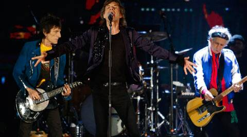 (L-R) Ronnie Wood, Mick Jagger and Keith Richards of the Rolling Stones perform during their 14 on Fire concert at Marina Bay Sands in Singapore March 15, 2014. (Reuters)